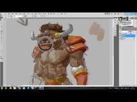 游戏插画教程-肌肉怪物